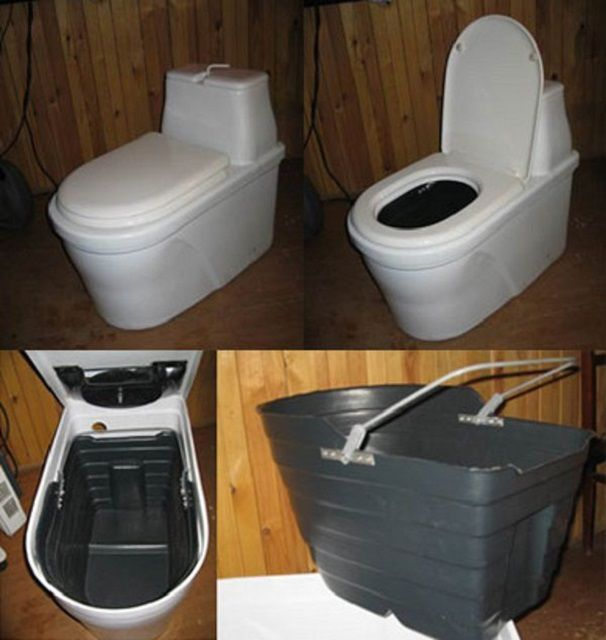 Схема конструкции торфяного туалета заводского производства