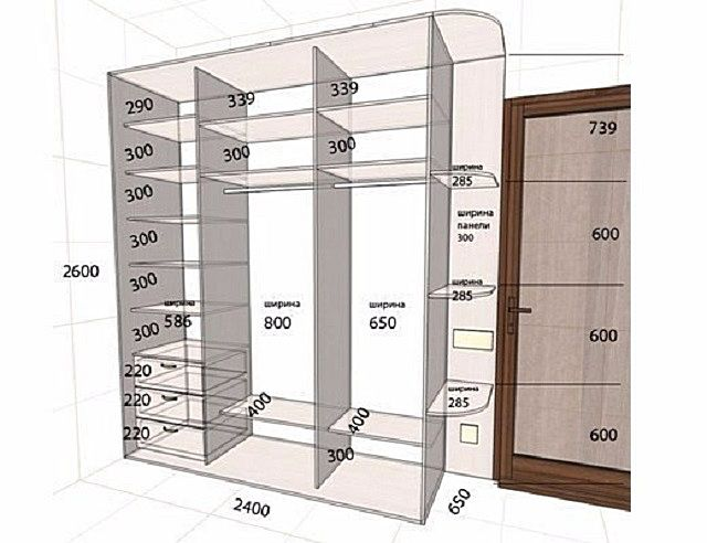 Чертеж внутренней конструкции шкафа