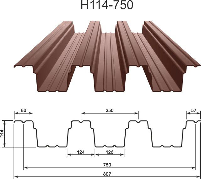 Несущий профнастил (Н) отличает большая высота волны, повышенная толщина металла, специальные продольные бороздки, играющие роль дополнительных ребер жесткости