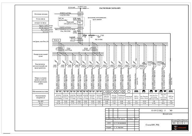 Одна из страниц проекта электроснабжения дома