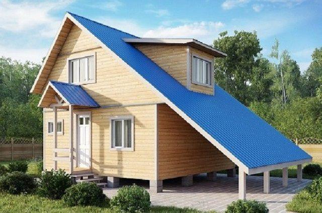 Очень интересно смотрятся дома с асимметричной двускатной крышей