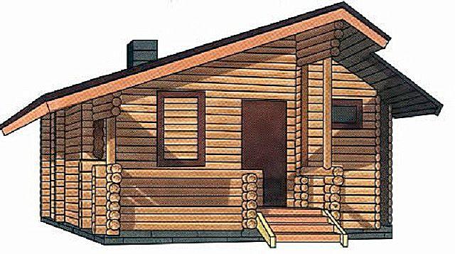Двускатная крыша с разными по крутизне и длине скатами.