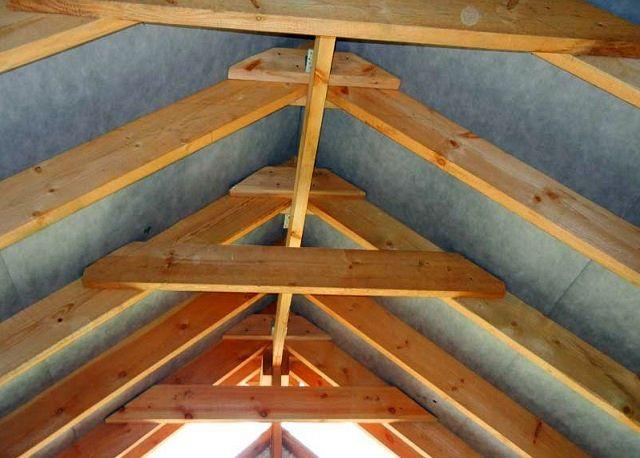 Один из вариантов соединения стропил на двускатной крыше