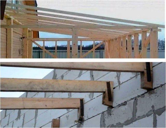 Стропила со стороны основного здания упираются или на горизонтальный прогон, или на индивидуальные точки крепления, но обязательно выверенные по горизонтали