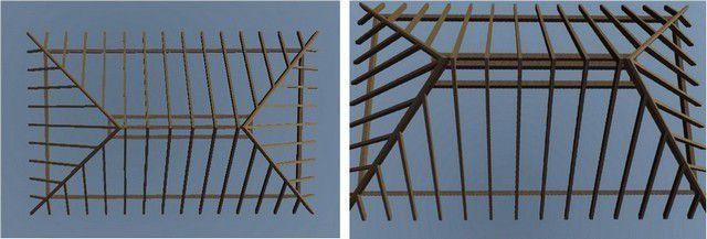 Базовая схема вальмовой стропильной системы.