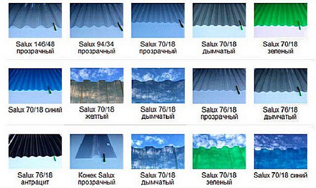 Разновидности прозрачного шифера компании «Salux»