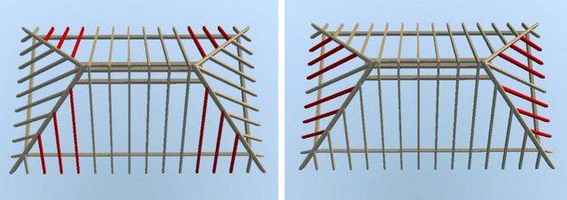 Расположение укороченных стропил основного ската и нарожников — вальмового