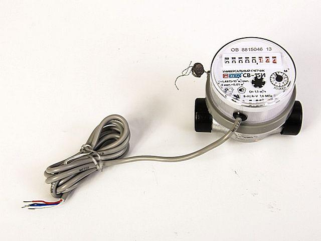 Счетчик потребления воды с сигнальным кабелем импульсного выхода