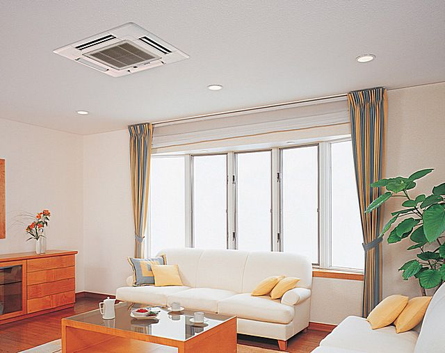 Внутренний блок сплит-системы кассетного типа прячется в конструкции подвесного или натяжного потолка