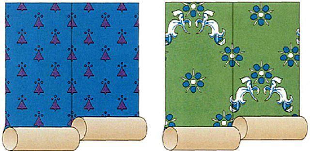 Рисунок на обоях может быть симметричным, не требующим смещения, или диагональным, когда каждый последующий лист смещается на определённую высоту.