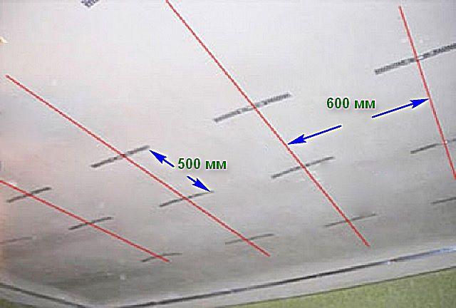 По отбитым линиям направляющих размечаются места установки прямых подвесов