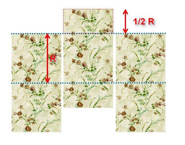 Стыковка полотен обоев с рисунком, смещенным по вертикали