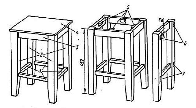 Как сделать табурет из дерева фото и схема