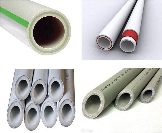 Верхний ряд – трубы со стеклопластиковым армированием, нижний – с алюминиевым