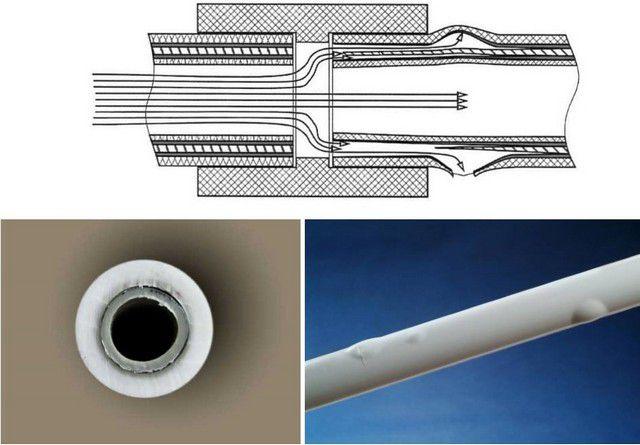 Схема и иллюстрации, объясняющие необходимость торцевания трубы с внутренним алюминиевым армированием