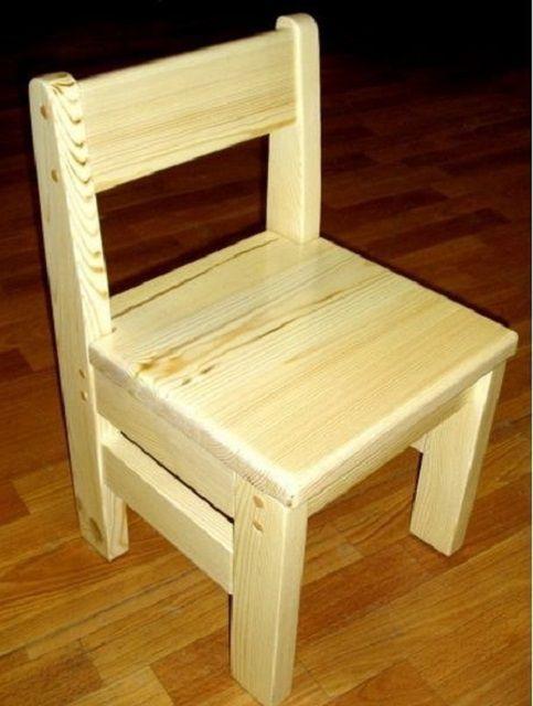 Детский массивный стульчик сохраняет ту же конструкцию, и отличается лишь размерами