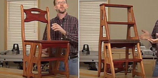 Приступаем к сборке вот такого варианта стула-стремянки