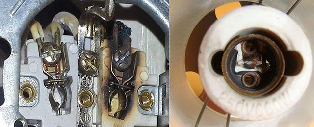 Короткое замыкание может возникнуть и в  розетке, и в патроне электрической лампы