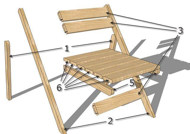 Рассмотрим изготовление и сборку такого раскладного стула