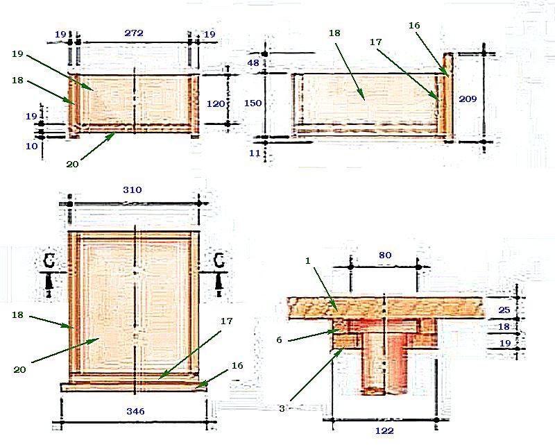 Схема сборки выдвижного ящика и конструкция верхней подвижной части ножки.