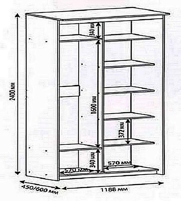 Рекомендуемые пропорции шкафа (если, конечно, позволяет пространство балкона)