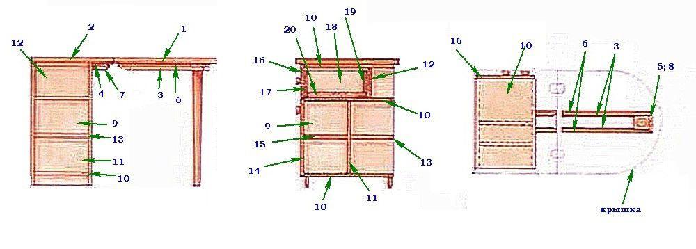 Деталировка стола-тумбы