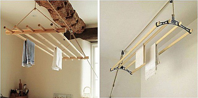 Потолочные сушилки-траверсы на верёвочных подвесах