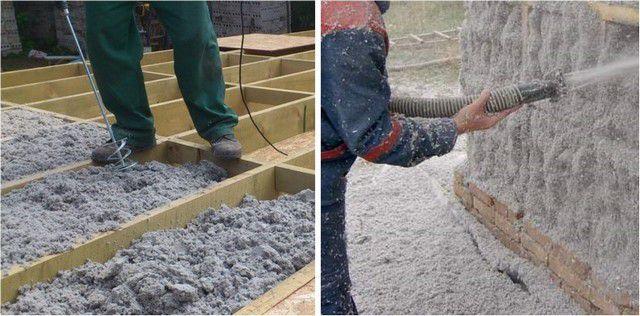 Эковатой могут заполняться полости или же производиться покрытие стен и перегородок