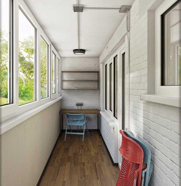 Помещение балкона, отделанное с практически полным соблюдением канонов «лофта»