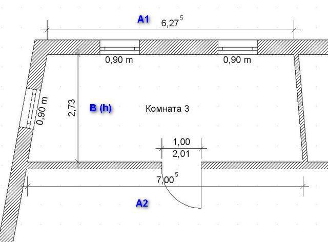 Калькулятор расчета площади четырёхугольного помещения