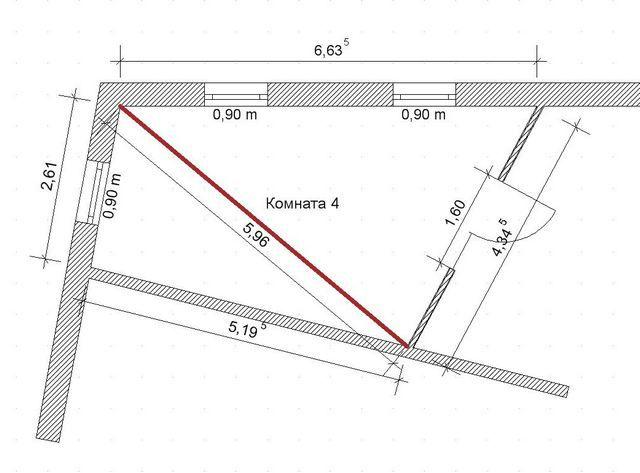 Пример разбивки неправильного четырёхугольника на два треугольника
