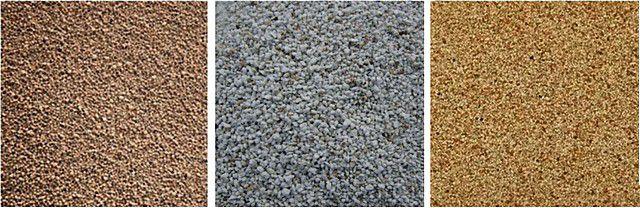 Минеральные ингредиенты для наполнителей теплых штукатурок: керамзит, вспученный перлитовый песок, вермикулит (слева направо)