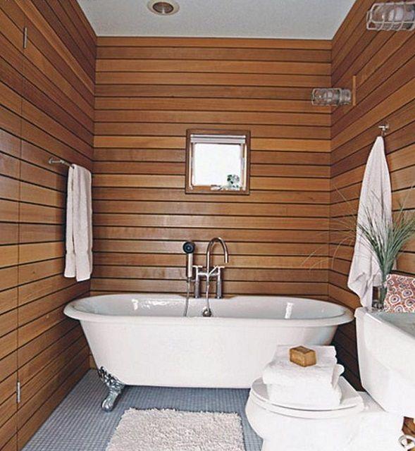 При должной обработке, натуральная вагонка подойдет даже для ванной