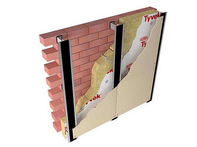 Примерная схема крепления фиброцементных панелей поверх термоизоляционного слоя с оставлением вентилируемого зазора