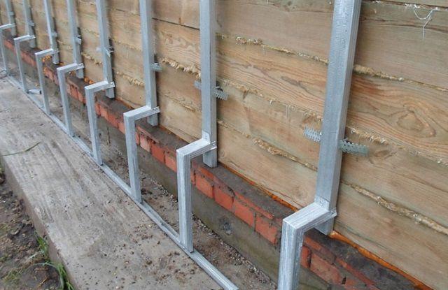 Совмещенный каркас для фасадной и цокольной части стены