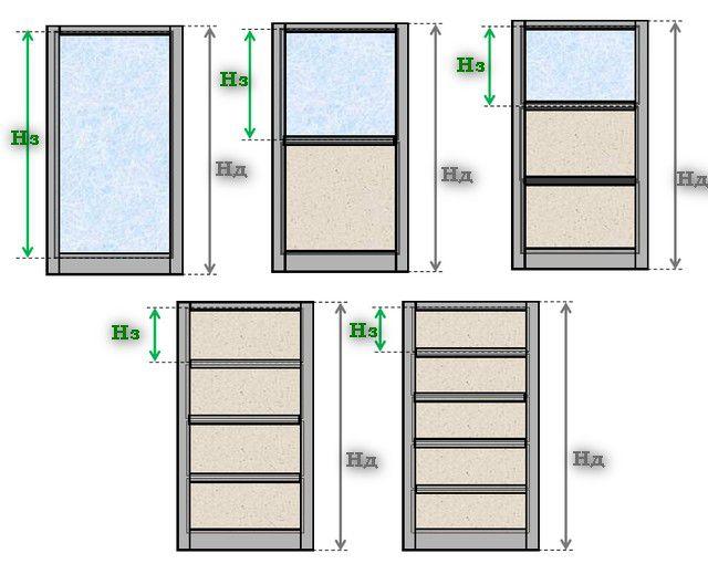 Возможные варианты разбивки створки двери на заполняющие фрагменты.