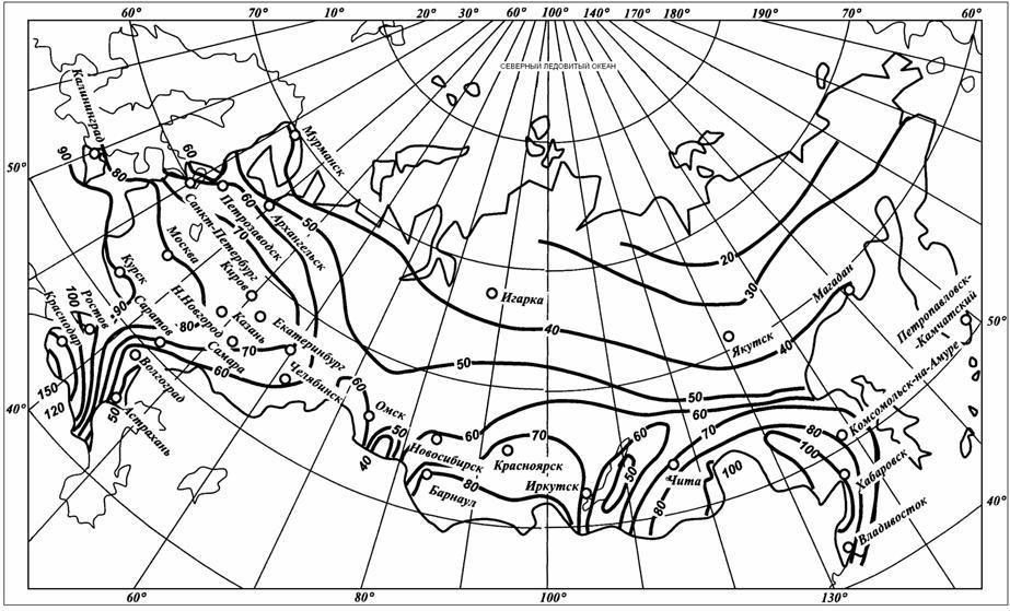 Карта-схема для определения коэффициента интенсивности осадков q20
