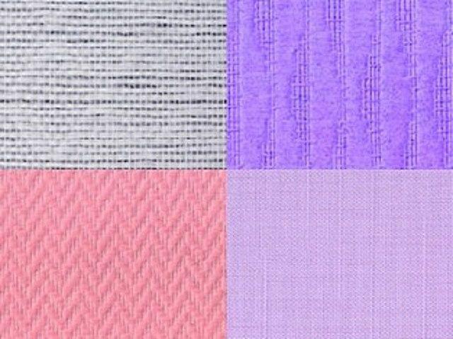 Несколько разновидностей обоев с тисненой имитацией различных текстильных полотен