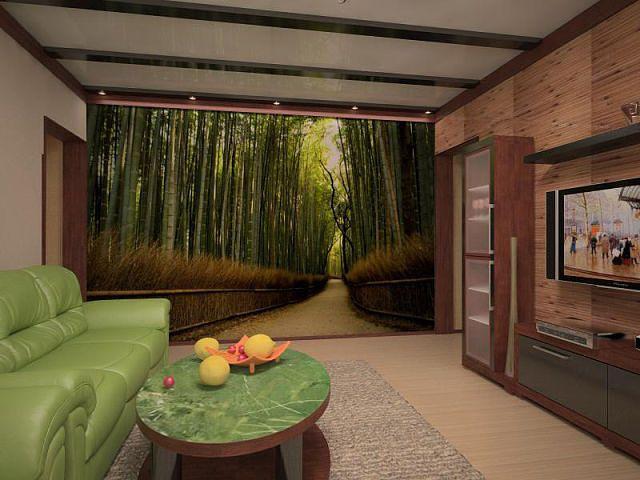 Фотообои с рисунком, выполненным в перспективе, «раздвигают» пространство комнаты