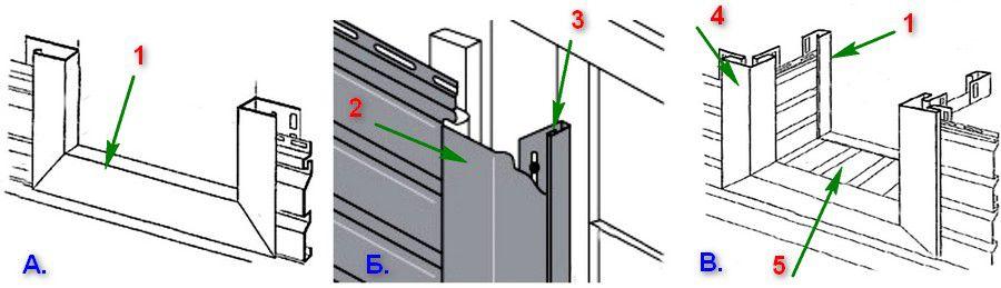 Варианты обрамления оконного или дверного проема при отделке фасада сайдингом