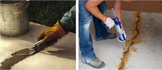 Заделка дефектов поверхности с помощью раствора (слева) и с использованием специальной шпатлевки