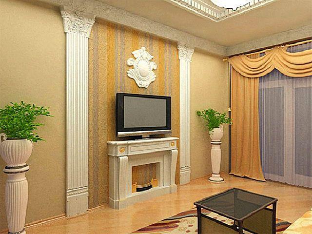 Двойное применение молдингов в едином стилевом решении – выступающие из стены колонны и имитация камина