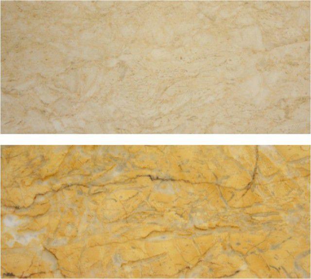 Для примера – два образца силикатно-кальциевых панелей с ламинированным покрытием «под камень»