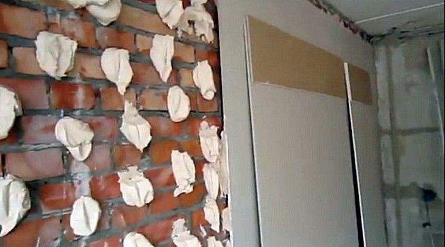 Второй вариант монтажа гипсокартонного покрытия стен – на клеевой состав