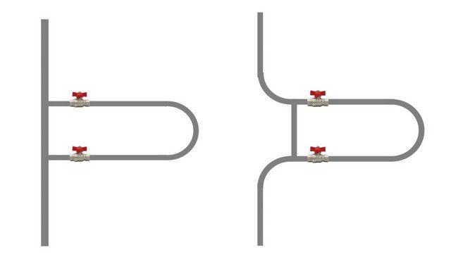 На левом фрагменте в качестве байпаса выступает сам стояк. На правом установлен смещенный байпас того же диаметра, что и стояк.