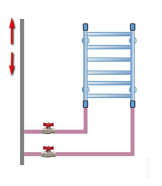 Вариант с удлиненными участками вертикальной подводки снизу – принципы монтажа и работы не меняются