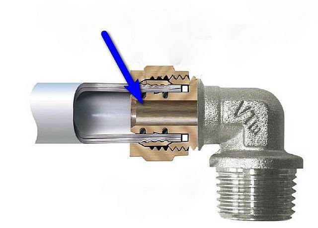 Достаточно часто допускаемая ошибка – конструкция фитинга для металлопластиковых труб подразумевает резкое сужение проходного диаметра, а на общем стояке это – не рекомендуется