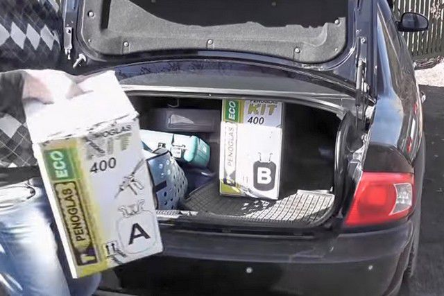 Весь комплект легко помещается в багажник любого седана