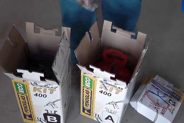 На всех этапах работы с комплектом баллоны из коробок не вынимаются.