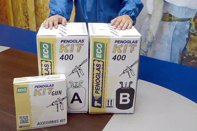 Таким комплектом «PENOGLAS™ KIT-400» можно выполнить качественную термоизоляцию на площади 20 м² толщиной в 50 мм